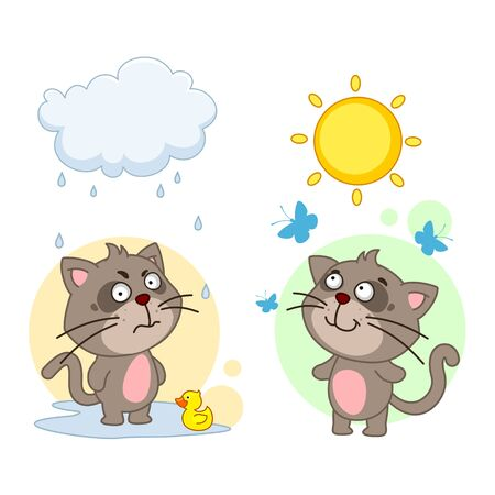 Icon set of dogs boys for children and design, a cat in a bad mood stands in a puddle under a cloud and rain with a duck, in a good mood walks in the sun with butterflies. Vectores