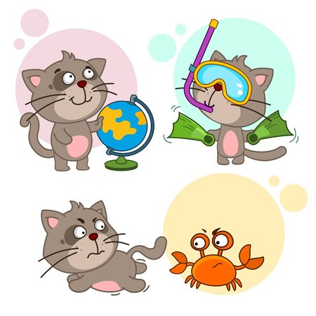 Set of children's illustrations for children and design. A cat with a globe is planning a rest, in an underwater mask and with flippers, running away from an evil crab that tweaks claws.