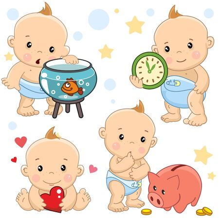 Set of images of little children of boys and baby for design, stands next to the aquarium with a fish, loves and holds a heart in his hands, with a clock, at a piggy bank with coins. Stock Illustratie