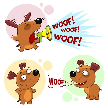 Set of dog characters. The dog barks hysterically in a shout and calmly barks.