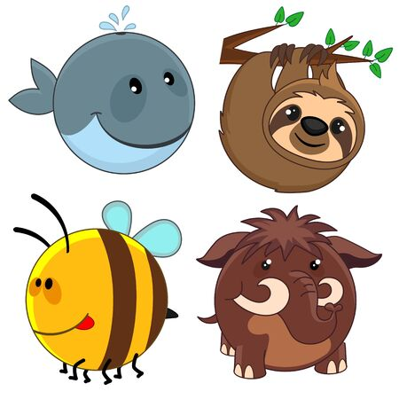 Set of beautiful circles icons from animals for design and kids, whale, sloth, bee and mammoth.