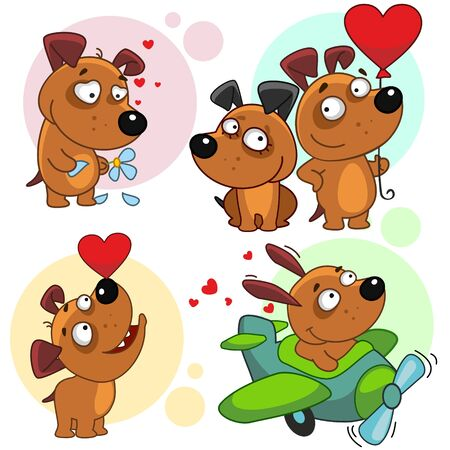 Set of dog characters. Dog with a flower, flying on an airplane, with a balloon heart.