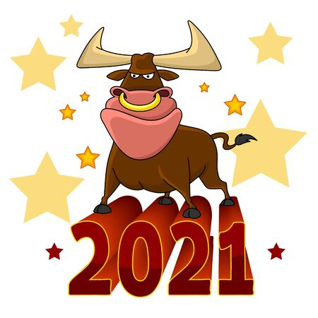 Illustration of a bull. The symbol of 2021 Chinese New Year. For design. The bull is standing on the numbers.