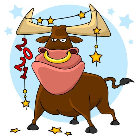 Illustration of a bull. The symbol of 2021 Chinese New Year. A bull stands and on his horns hangs a garland with numbers and stars.