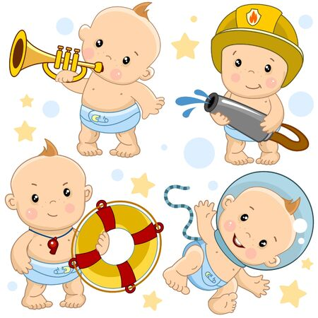 Set of images of little children boys and baby for design, kids and their profession, fireman, astronaut, lifeguard on the water with a lifebuoy and musician playing the trumpet.