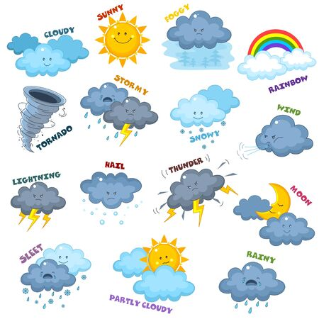 Set of icons for children with different weather. Image of the sun, clouds, rain, month, thunder, wind, hail, snow, lightning and tornado. Vectores