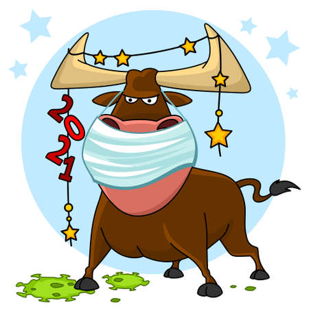 Bull illustration. The symbol of the Chinese New Year 2021. There is a bull in a mask. He defeated the coronavirus.