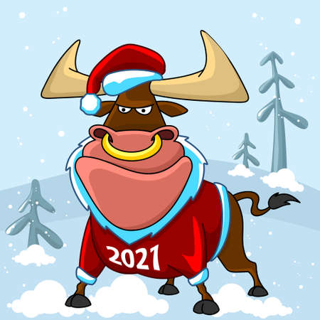 Bull illustration. The symbol of the Chinese New Year 2021. The bull is dressed in a Santa suit. Happy New Year.