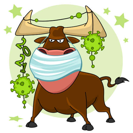 Bull illustration. The symbol of the Chinese New Year 2021. There is a bull in a mask, a garland with numbers and viruses hangs on its horns.