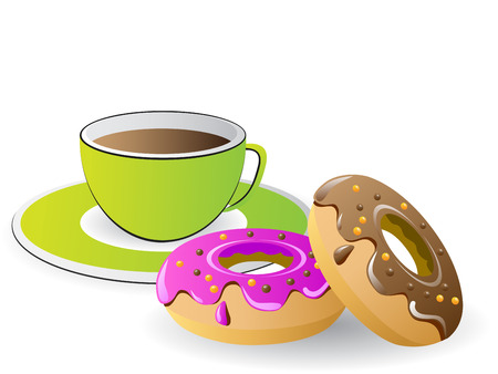 tea time with coffee and donuts Stock Vector - 6665509