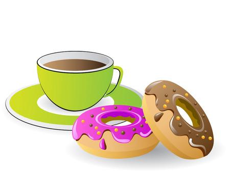 beignet: temps de th� caf� et des beignes  Illustration