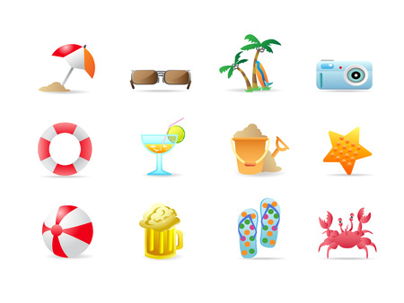 Beach icons and products Vector