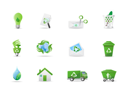 mail truck: Environment and eco icons Illustration