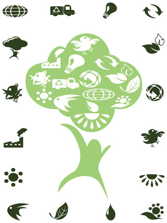 green recycle icons in the tree Stock Vector - 7080586