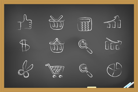 some hand drawing shopping icons on the blackboard