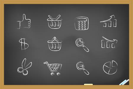 rekenmachine: sommige iconen op het bord hand-tekening