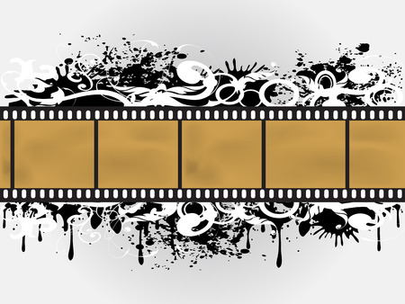the background of Grunge Floral Film Border Vector
