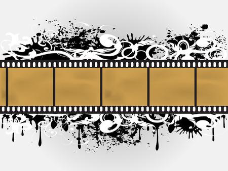 the background of Grunge Floral Film Border Vector