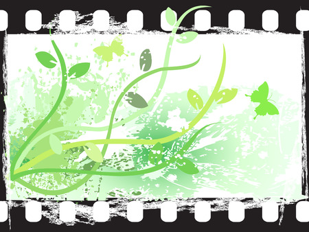 the background of grunge floral film frame Vector