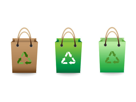 Green sale shopping bags with recycle sign Vector