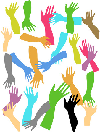 many colorful hands drawing on the white paper Vector