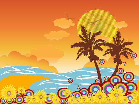 bird of paradise flower: beautiful palm tree beach for design