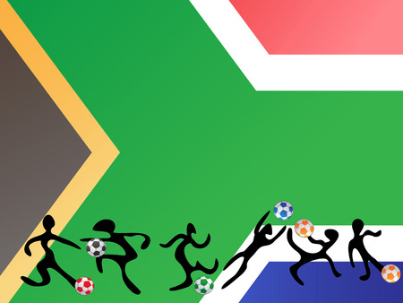 some players playing the soccer in south africa flag background Vector