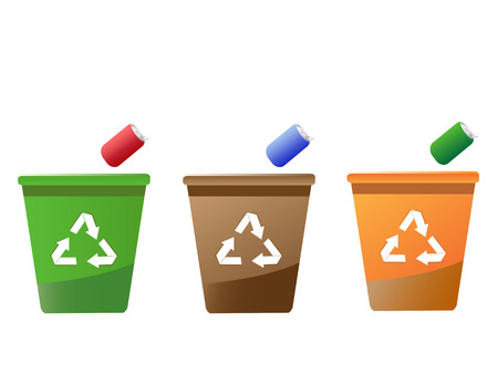 recyclable: 3 recycling bins on the white background Illustration