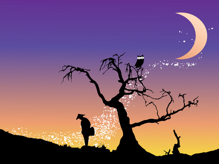moon  owl  silhouette: a farmer going home at star night  Illustration