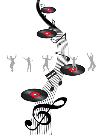 some dancers dancing on music note  Vector