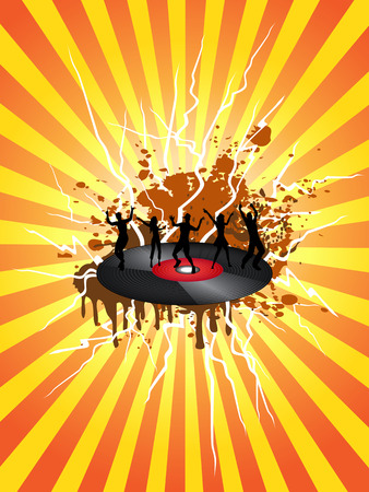 Dancing on the vinyl record with sunray background Vector