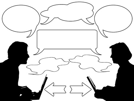 two people communicating with speech  bubble Stock Vector - 7096392