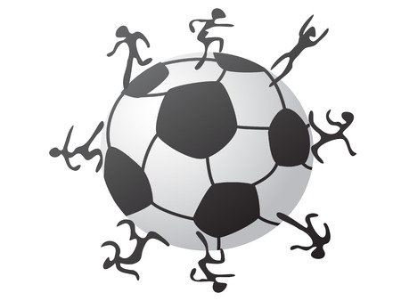 the concept of players around the soccer Vector