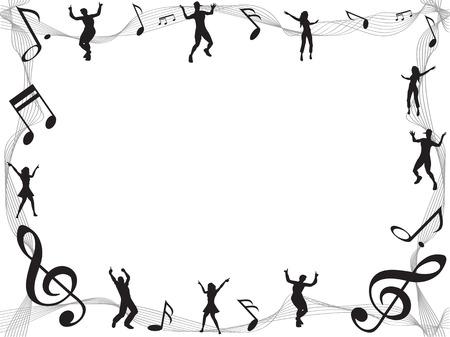 electronic music: lo sfondo della musica nota cornice con copyspace