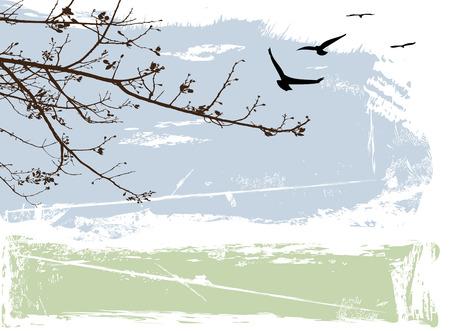 나무와 새 지저분한 추상 풍경 일러스트