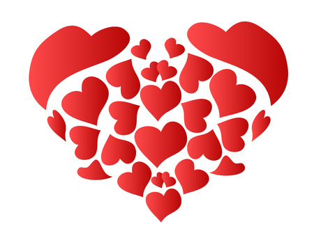 the red heart grouped by patterned red heart Stock Vector - 7096408