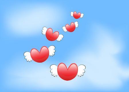 loves: some flying loves heart in the blue sky