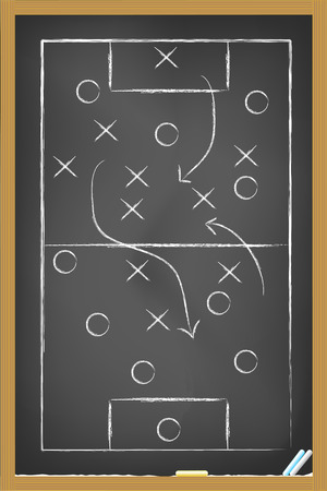 soccer coach: soccer strategy drawing on the blackboard Illustration