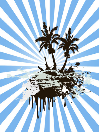 sunny palm tree island means summer coming Vector Illustration