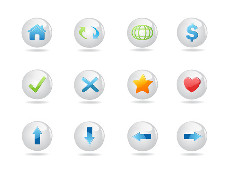 shiny round web icons for design Stock Vector - 7120110