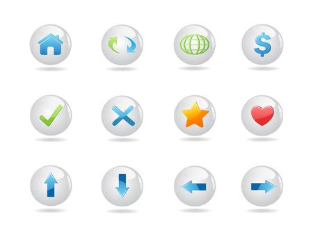 roundness: shiny round web icons for design Illustration