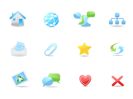 Glossy web and blog icons set for design Stock Vector - 7120107