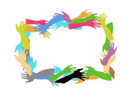 diverse business team: color hands frame Illustration