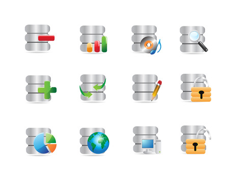 some database icons for web design Stock Vector - 7151089