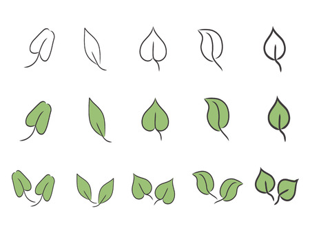 green and simple leaf icon set for design Stock Vector - 7151086