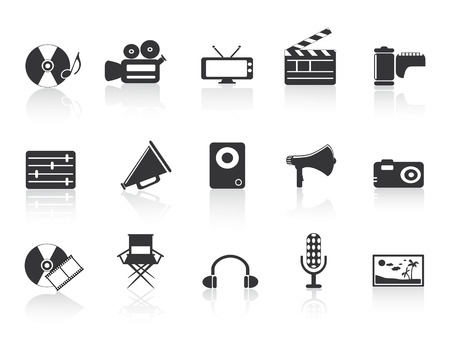 directors: black multimedia tools icon for design Illustration