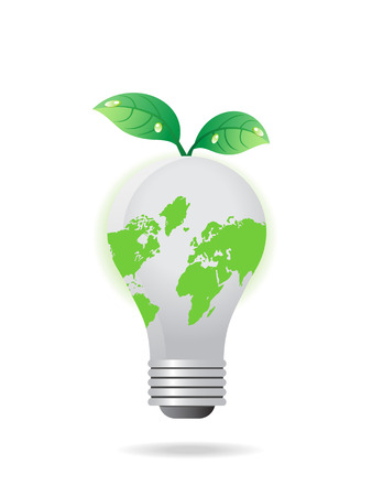 global light bulb with leaves  Vector
