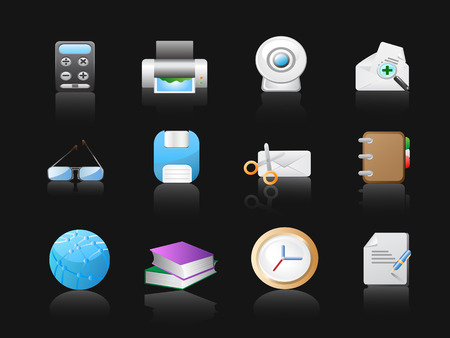 cam gear: office icons in black background