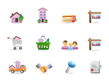 real estate icons Stock Vector - 7180272