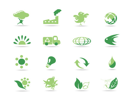 simple green eco icons Stock Vector - 7180263